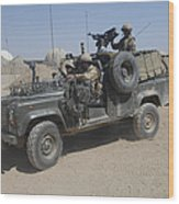 British Soldiers In Their Land Rover Wood Print