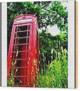 British Telephone Booth In A Field Wood Print by Kara Ray