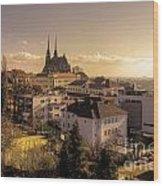 Brno Skyline  Wood Print