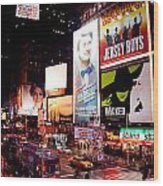 Broadway At Times Square Wood Print