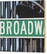 Broadway Sign Color 16 Wood Print
