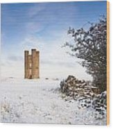 Broadway Tower In Winter Snow Wood Print