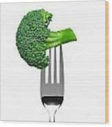 Broccoli On A Fork Isolated On White Wood Print by Richard Thomas