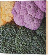 Broccoli With Yellow And Purple Cauliflower, Studio Shot Wood Print