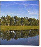 Broemmelsiek Park - Spring Reflections Wood Print by Bill Tiepelman