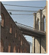 Brooklyn Bridge & Empire Fulton Ferry State Park Wood Print by Just One Film