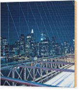 Brooklyn Bridge And Lower Manhattan By Night Wood Print
