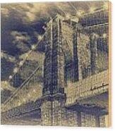Brooklyn Bridge At Night - Blue Daguerreotype Wood Print