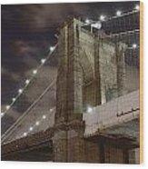 Brooklyn Bridge At Night - Btc-merge Wood Print