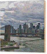 Brooklyn Bridge Carousel Wood Print