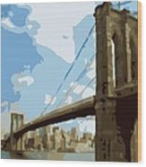 Brooklyn Bridge Color 16 Wood Print