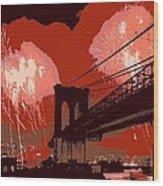 Brooklyn Bridge Fireworks Color 6 Wood Print