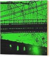 Brooklyn Bridge In Green Wood Print
