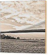 Brooklyn Bridge In Sepia Wood Print