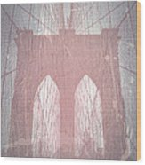 Brooklyn Bridge Red Wood Print by Naxart Studio