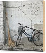 Broom And Bike Wood Print
