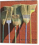 Brooms Leaning Against Wall Wood Print