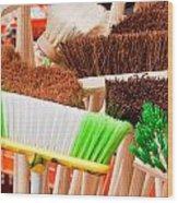 Brooms Wood Print