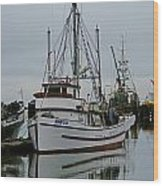 Brown And White Fish Boat Wood Print