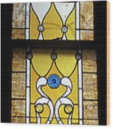 Brown Stained Glass Window Wood Print