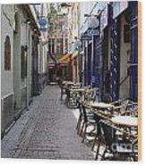 Brussels Side Street Cafe Wood Print