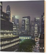 Bryant Park At Night From Roof Looking East Wood Print
