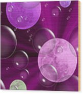 Bubbles And Moons - Purple Abstract Wood Print
