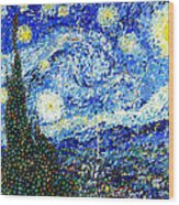 Bubbly Starry Night Wood Print