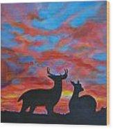 Buck And Doe Wood Print