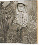 Buckaroo Cowgirl And Horse Wood Print by Cindy Singleton