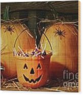 Bucket Filled With Halloween Candy Wood Print