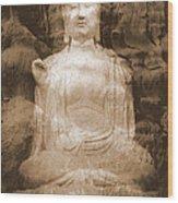 Buddha And Ancient Tree Wood Print