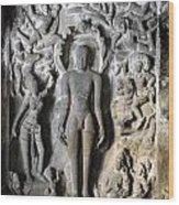 Buddha At Elora Caves India Wood Print