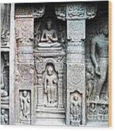 Buddha Carvings At Ajanta Caves Wood Print