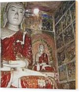 Buddha Image In Po Win Taung Caves. Wood Print