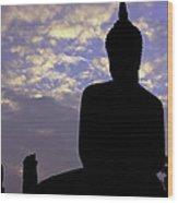 Buddha Silhouette Wood Print