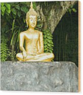 Buddha Statue Under Green Tree In Meditative Posture Wood Print