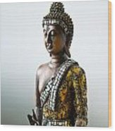 Buddha Statue With A Golden Robe Wood Print