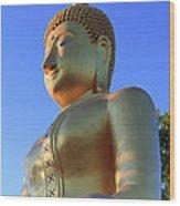 Buddha With Sunset Wood Print