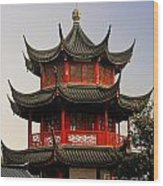 Buddhist Pagoda - Shanghai China Wood Print by Christine Till