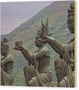 Buddhistic Statues Wood Print by Karen Walzer