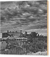 Buffalo Mills Under Clouds Wood Print