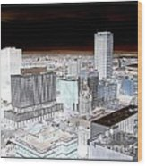 Buffalo New York Aerial View Inverted Effect Wood Print by Rose Santuci-Sofranko