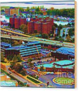 Buffalo New York Aerial View Neon Effect Wood Print