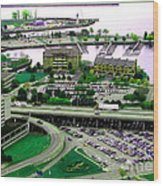 Buffalo New York Waterfront Aerial View Ultraviolet Effect Wood Print