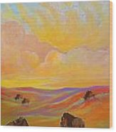 Buffalo Sunrise Wood Print by Jenn Cunningham