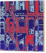 Building Facade In Blue And Red Wood Print