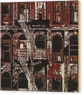Building Facade In Brown And Red Wood Print