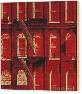 Building Facade In Red And White Wood Print