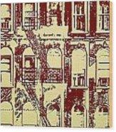 Building Facade Line Art Wood Print